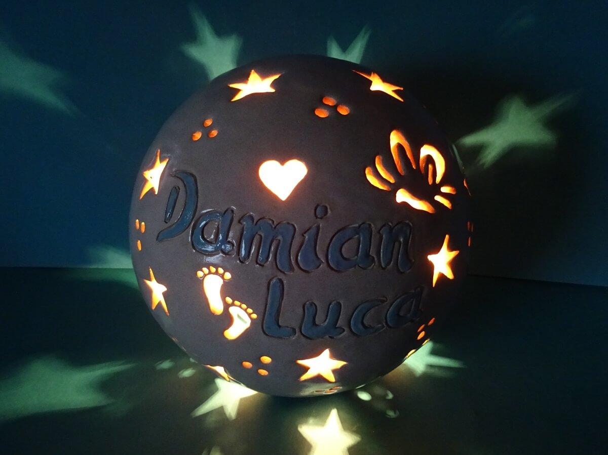 Namenslampe aus Ton, Geschenk zur Geburt